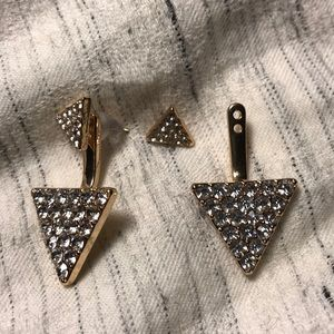 New front back triangle earrings